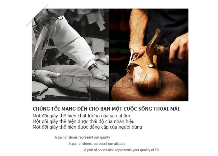 Giày da nam Vangosedun Y10316 sử dụng phương pháp may cắt thủ công