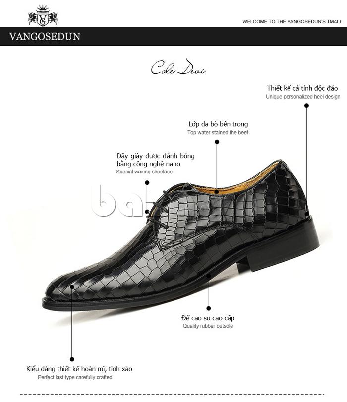 Giày da nam Vangosedun Y10316 thời trang sành điệu