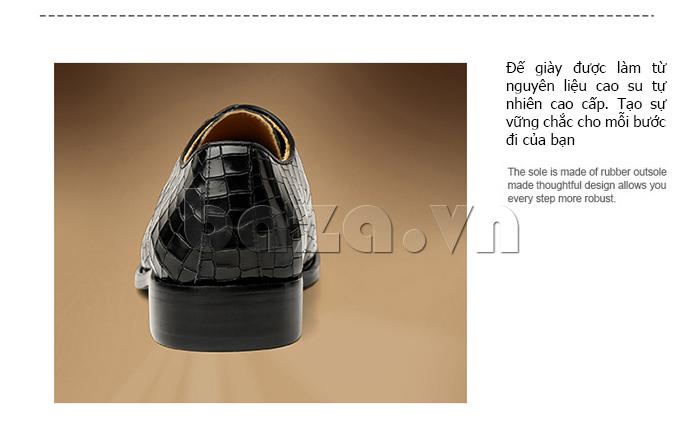 Giày da nam Vangosedun Y10316 đế giày cao su tôn dáng