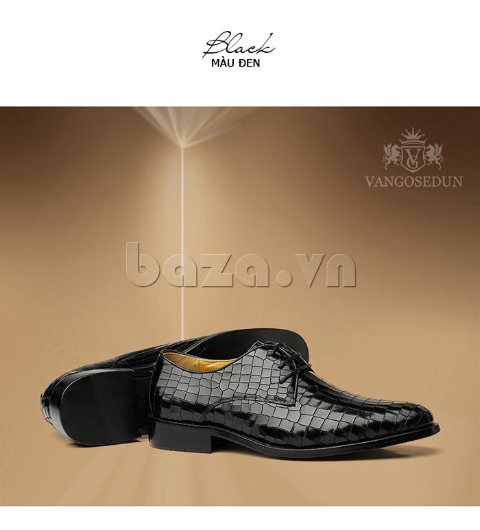 Giày da nam Vangosedun Y10316 màu đen sang trọng