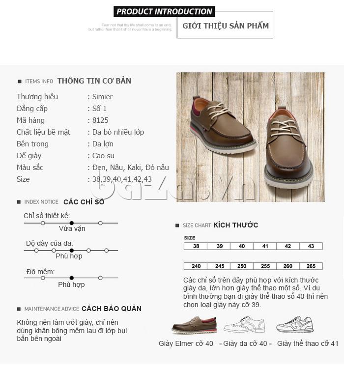 Thông tin cơ bản Giày da nam  Simier 8125