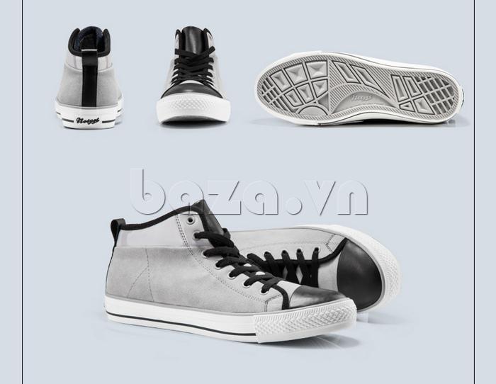 Giày da lộn nam tăng chiều cao Notyet NY-LD4169 màu xám kết hợp đen