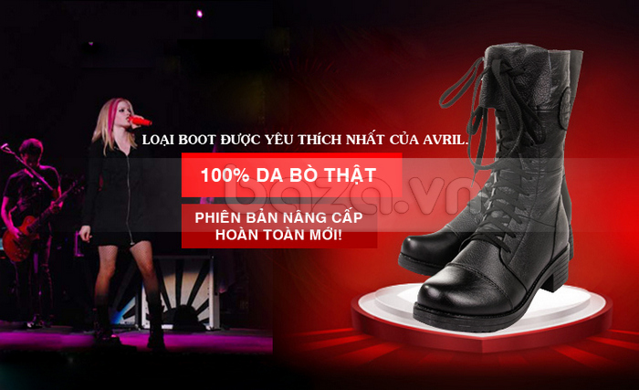 Cô nàng Avirl Lavigne luôn sở hữu tới vài đôi giày combat boots như mẫu này