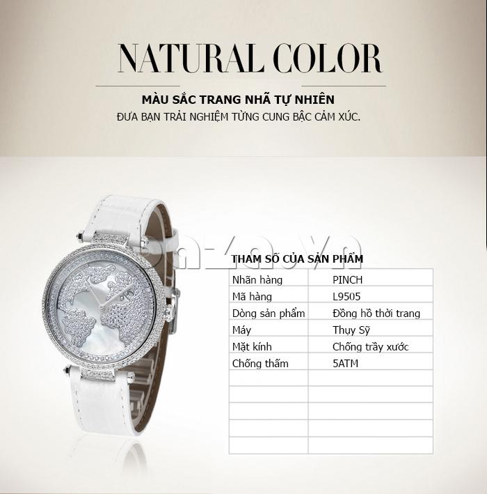 """Đồng hồ nữ """" Đồng hồ nữ Pinch L9506 """" màu sắc trang nhã tự nhiên"""