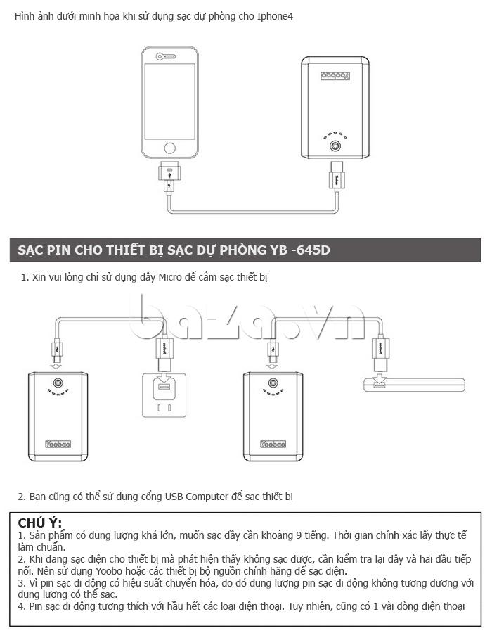 Pin dự phòng di động 10400mAh Yoobao YB645D sạc dự phòng tốt