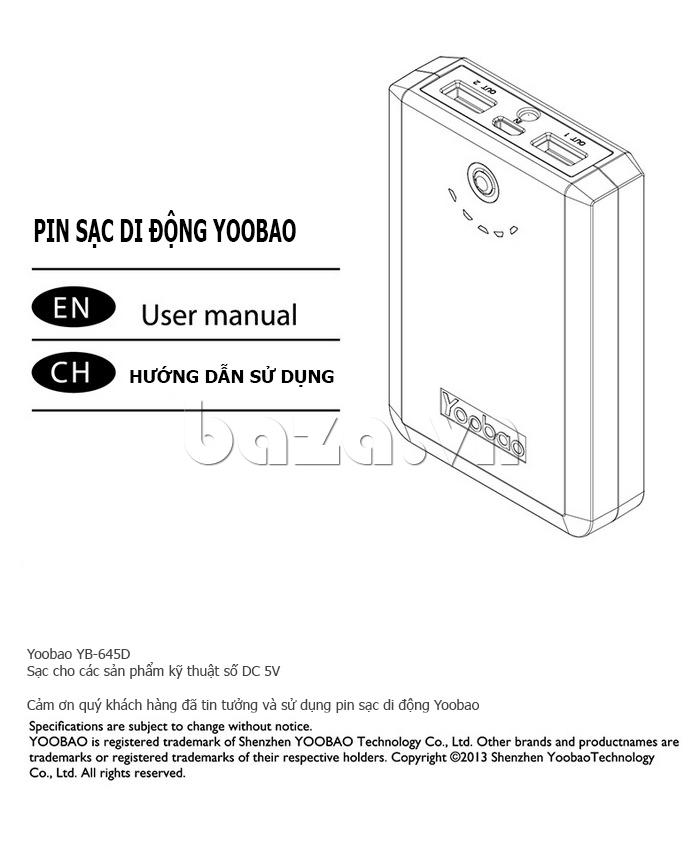 Pin dự phòng di động 10400mAh Yoobao YB645D an toàn