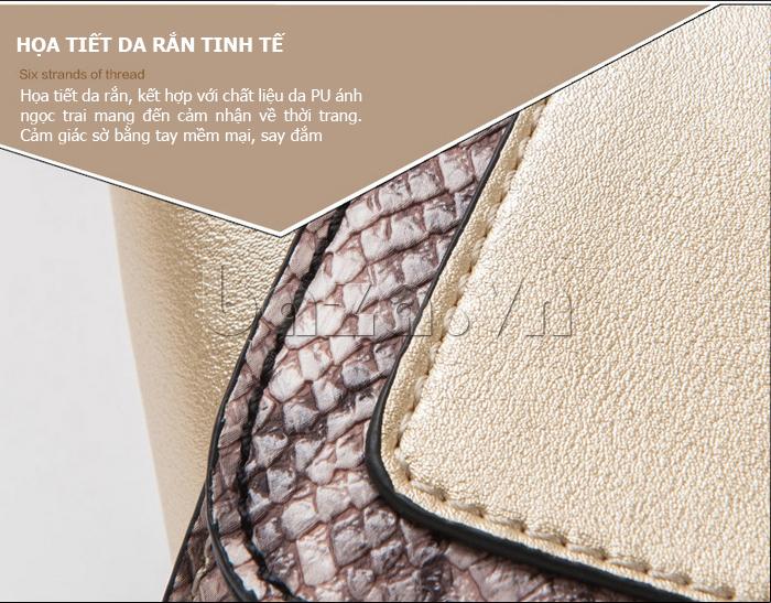 Túi xách nữ khóa xoay Binnitu 6233 - họa tiết da rắn tinh tế