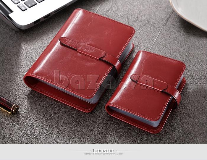 Ví da nữ đựng card hình cuốn sổ Teemzone K848 - màu đỏ đun trẻ trung