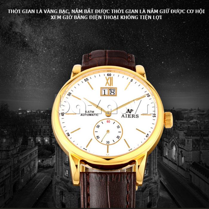 Đồng hồ cơ nam Aiers B163G cho doanh nhân