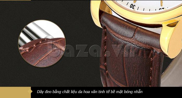 Đồng hồ cơ nam Aiers B163G dây đeo da hoa văn tinh tế