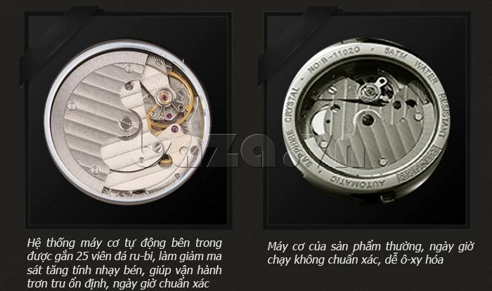 So sánh bộ máy Đồng hồ cơ nam Aiers B163G