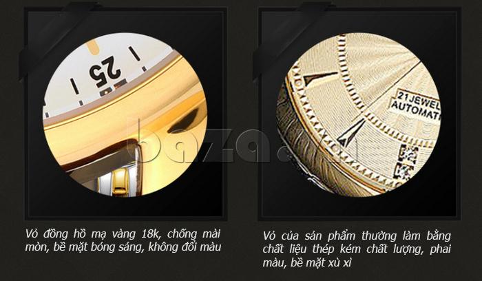 Đồng hồ cơ nam Aiers B163G mạ vàng 18K