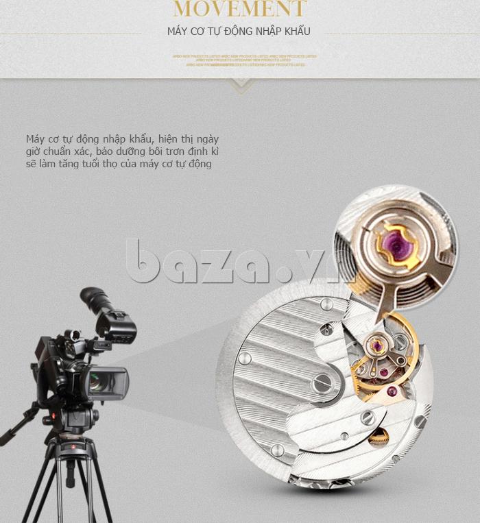 Đồng hồ cơ nam Aiers B163G lắp chân kính Ruby