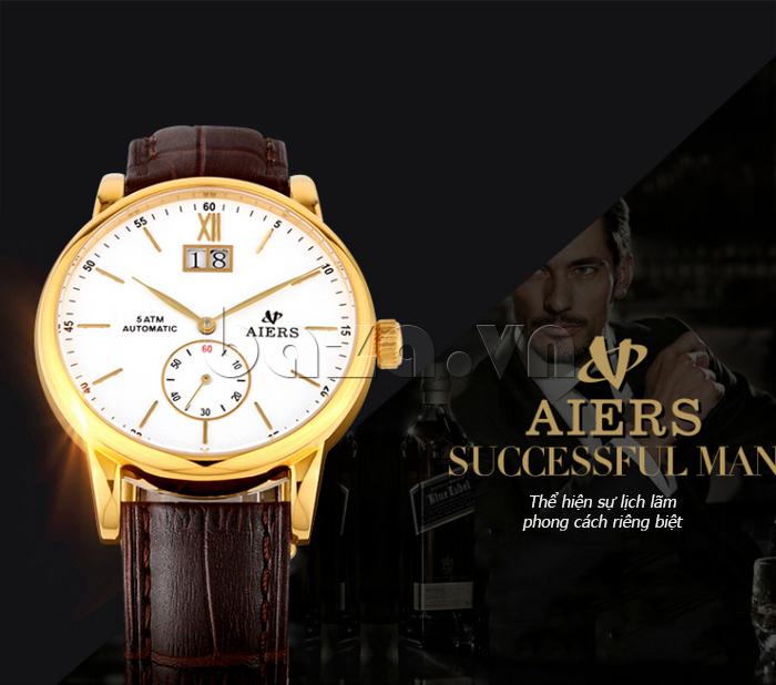 Đồng hồ cơ dây da nam thời trang Aiers B163G