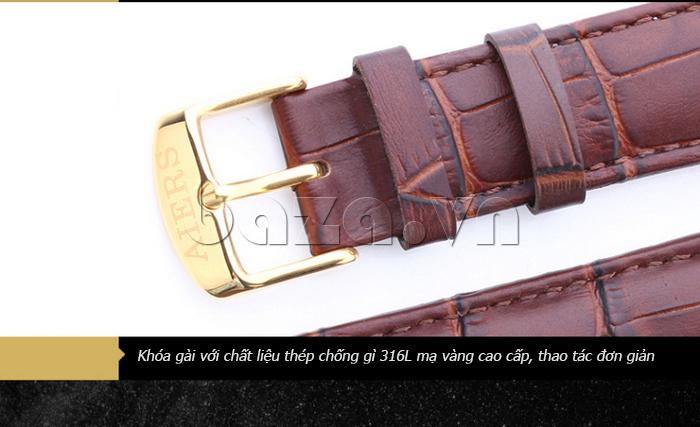 Đồng hồ cơ nam Aiers B163G khóa gài chất liệu thép chống gỉ