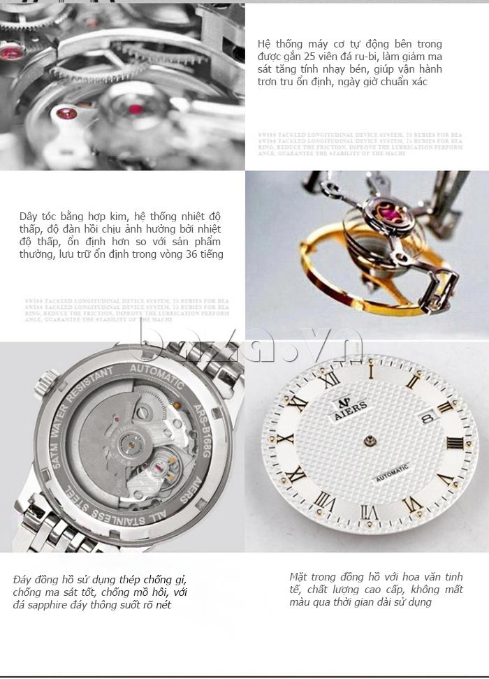 Đồng hồ cơ nam Aiers B163G chân kính 25 ruby
