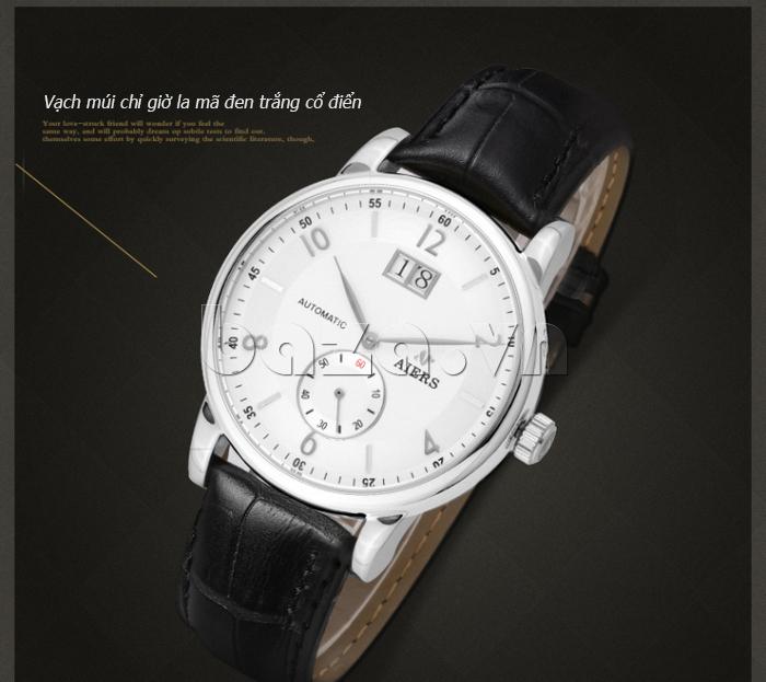 Đồng hồ cơ nam Aiers B163G mốc chỉ giờ la mã