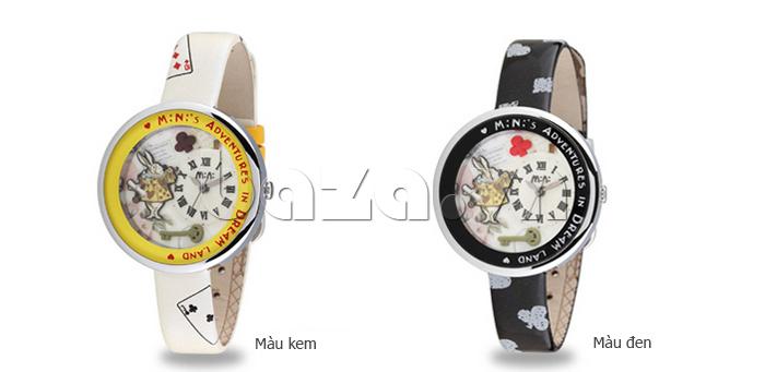 Đồng hồ nữ Mini MN1093 Mặt thỏ ngộ nghĩnh màu kem, màu đen