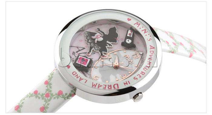 Đồng hồ nữ Mini MN1093 Mặt thỏ ngộ nghĩnh họa tiết gốm mềm