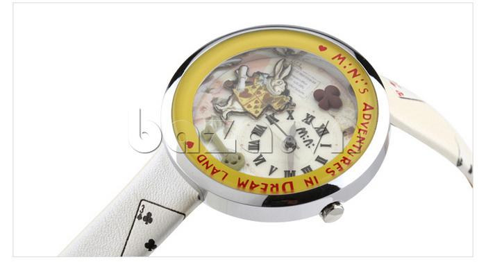 Đồng hồ nữ Mini MN1093 Mặt thỏ ngộ nghĩnh màu kem trang nhã