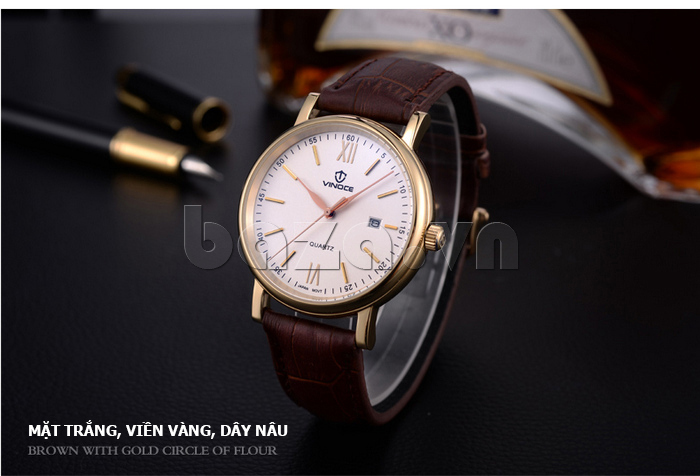 Đồng hồ nam dây da Vinoce 8388G kiểu dáng đơn giản thiết kế tinh xảo