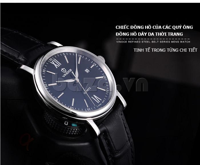 Đồng hồ nam dây da Vinoce 8388G kiểu dáng đơn giản hot