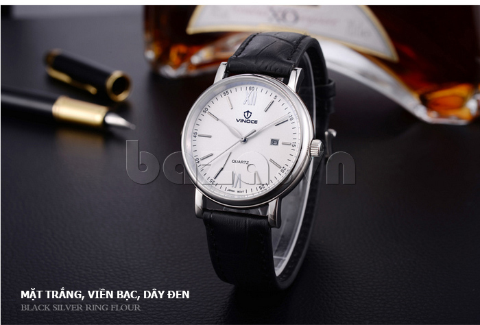 Đồng hồ nam dây da Vinoce 8388G kiểu dáng đơn giản thiết kế chất lượng