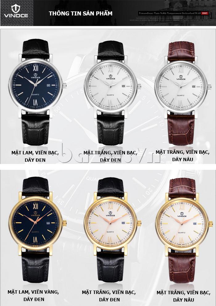 Đồng hồ nam dây da Vinoce 8388G kiểu dáng đơn giản tinh tế