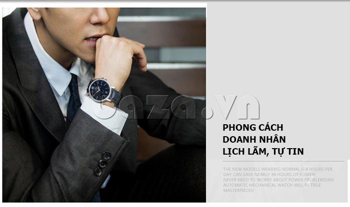 Đồng hồ nam dây da Vinoce 8388G kiểu dáng đơn giản phong cách