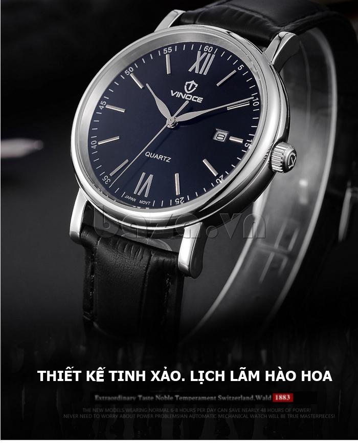 Đồng hồ nam dây da Vinoce 8388G kiểu dáng đơn giản