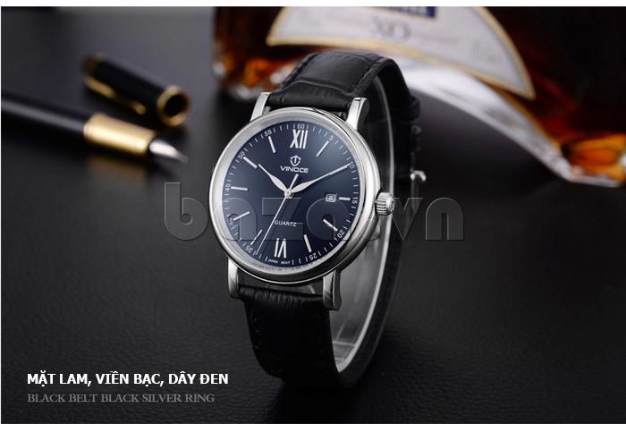 Đồng hồ nam dây da Vinoce 8388G kiểu dáng đơn giản thiết kế phong cách