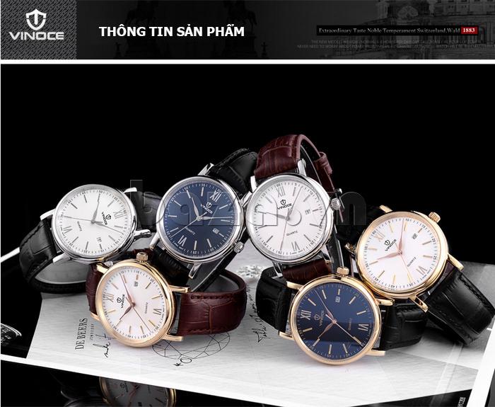 Đồng hồ nam dây da Vinoce 8388G kiểu dáng đơn giản thiết kế ấn tượng
