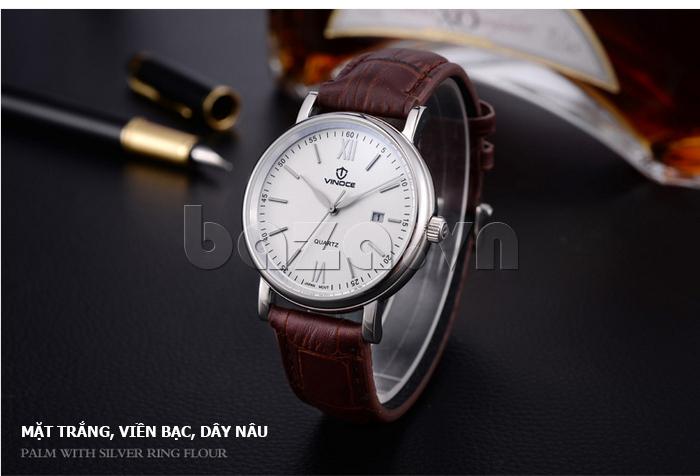 Đồng hồ nam dây da Vinoce 8388G kiểu dáng đơn giản thiết kế tinh tế