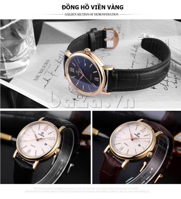 Đồng hồ nam dây da Vinoce 8388G kiểu dáng đơn giản thiết kế bền đẹp