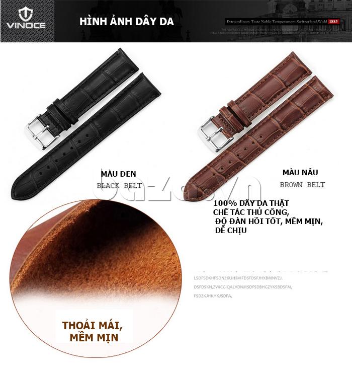 Đồng hồ nam dây da Vinoce 8388G kiểu dáng đơn giản thiết kế hiện đại