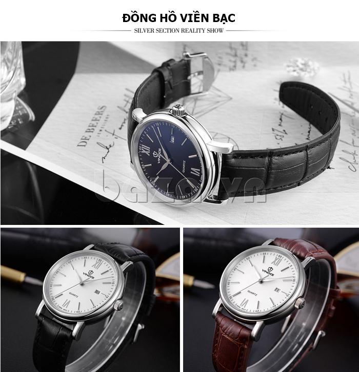 Đồng hồ nam dây da Vinoce 8388G kiểu dáng đơn giản thiết kế bền