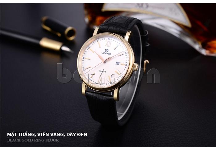 Đồng hồ nam dây da Vinoce 8388G kiểu dáng đơn giản thiết kế chính hãng