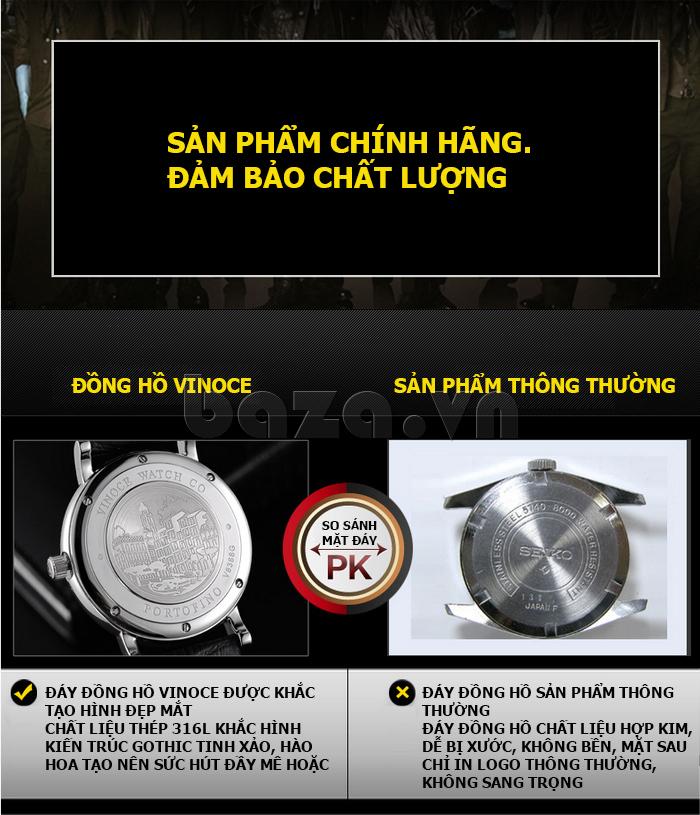 Đồng hồ nam dây da Vinoce 8388G kiểu dáng đơn giản thiết kế hoàn hảo và hot