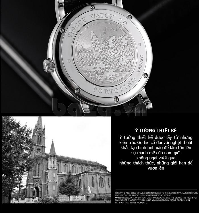 Đồng hồ nam dây da Vinoce 8388G kiểu dáng đơn giản ĐẸP