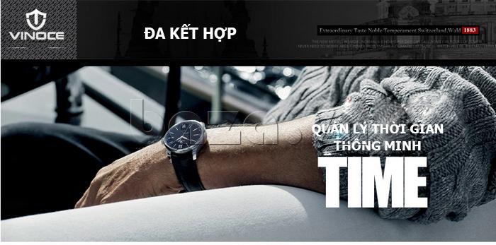 Đồng hồ nam dây da Vinoce 8388G kiểu dáng đơn giản thời trang