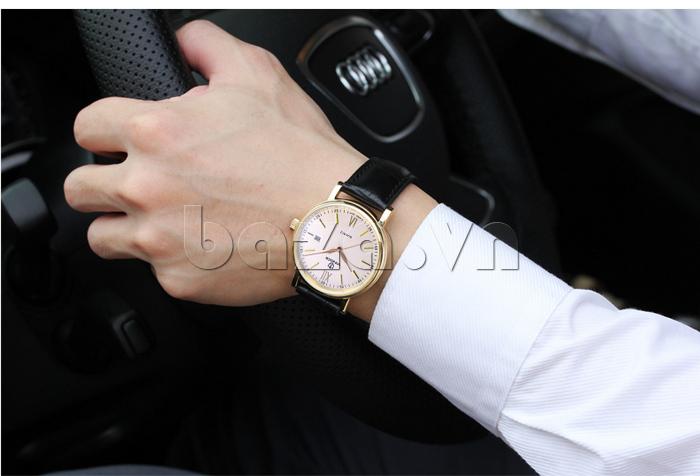 Đồng hồ nam dây da Vinoce 8388G kiểu dáng đơn giản thiết kế lịch lãm