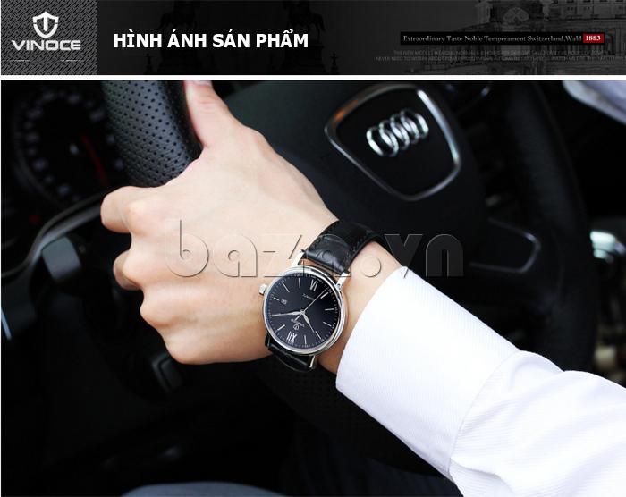 Đồng hồ nam dây da Vinoce 8388G kiểu dáng đơn giản thiết kế sang trọng