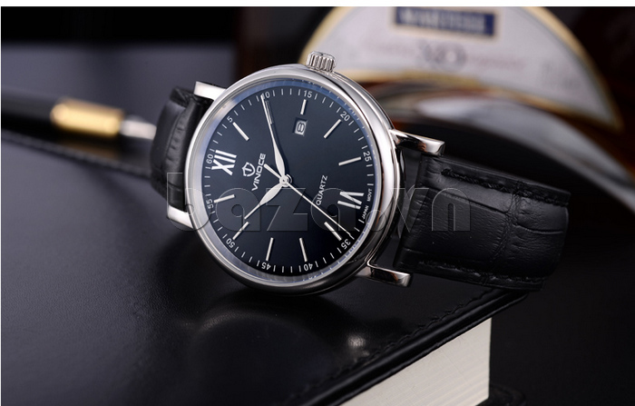 Đồng hồ nam dây da Vinoce 8388G kiểu dáng đơn giản thiết kế thời trang
