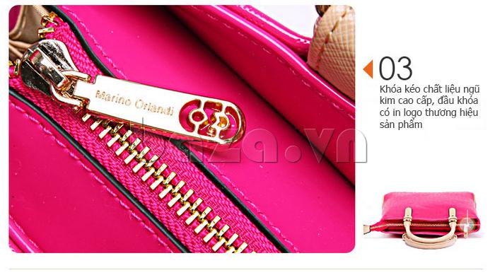 Túi xách nữ Marino Orlandi 7141136 sử dụng khóa kéo chất liệu ngũ kim\