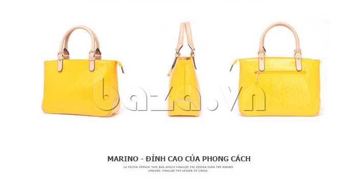 Túi xách nữ Marino Orlandi 7141136 màu vàng các góc độ