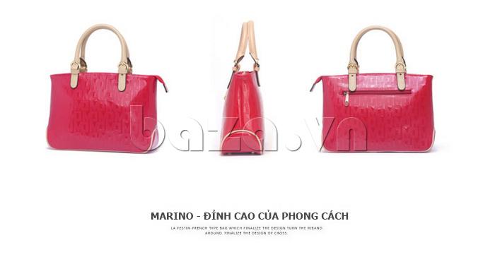 Túi xách nữ Marino Orlandi 7141136 màu đỏ các góc độ