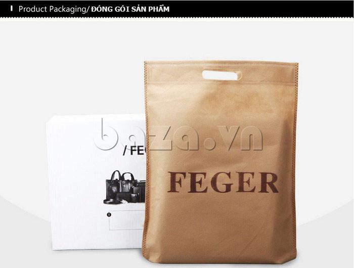 Túi da nam Feger 632-2 khóa nam châm từ tính phong cách hiện đại và sang trọng