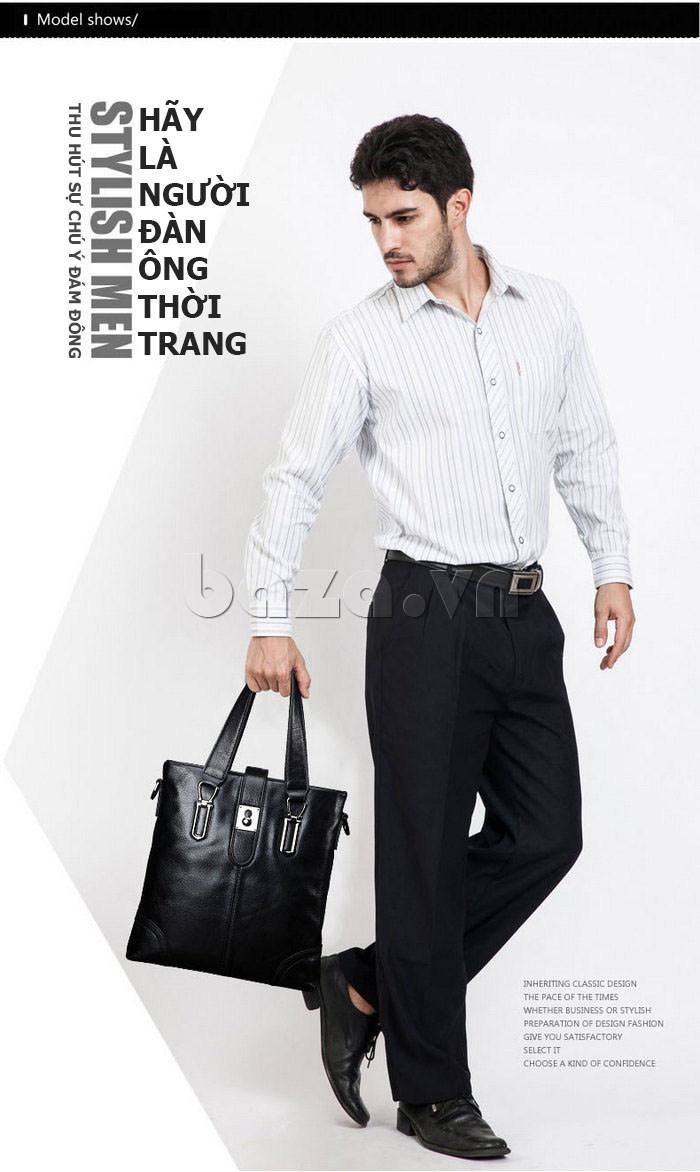 Túi da nam Feger 632-2 khóa nam châm từ tính cao cấp
