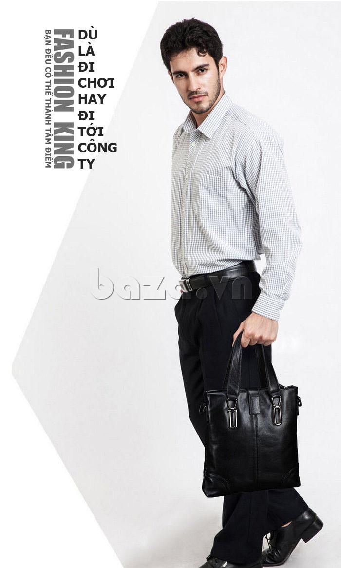 Túi da nam Feger 632-2 khóa nam châm từ tính thời thượng