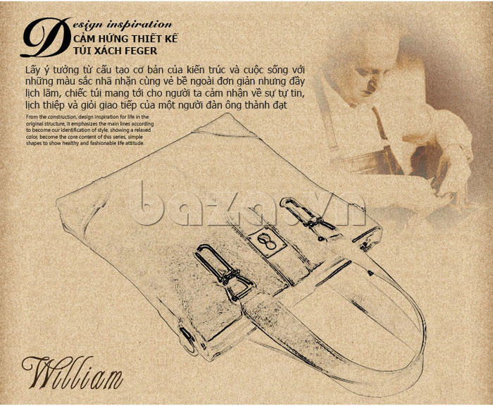 Túi da nam Feger 632-2 khóa nam châm từ tính độc